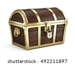 closed vintage wooden chest... | Shutterstock . vector #492211897
