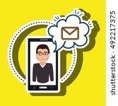 cartoon man smartphone cloud... | Shutterstock .eps vector #492217375