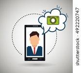 cartoon man smartphone camera | Shutterstock .eps vector #492220747