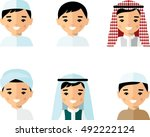 set of avatar arab man in flat... | Shutterstock .eps vector #492222124