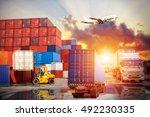 industrial container cargo... | Shutterstock . vector #492230335