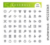 set of 56 baseball line icons... | Shutterstock .eps vector #492233365