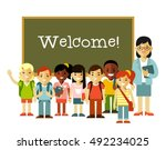 young teacher woman and school... | Shutterstock .eps vector #492234025