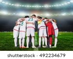 football team players hug the... | Shutterstock . vector #492234679