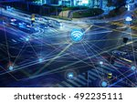 traffict vehicles  wireless... | Shutterstock . vector #492235111