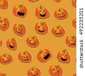 halloween background with... | Shutterstock .eps vector #492235201