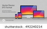 realistic computer monitor ... | Shutterstock .eps vector #492240214