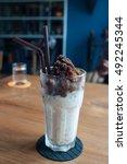 ice coffee. ice coffee freezing ... | Shutterstock . vector #492245344