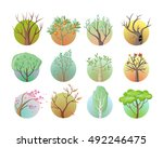 set of tree with green leaves.... | Shutterstock . vector #492246475
