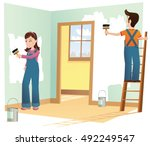couple decorating house. | Shutterstock .eps vector #492249547
