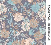 botanical seamless pattern with ... | Shutterstock .eps vector #492250939