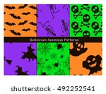 set of halloween seamless... | Shutterstock .eps vector #492252541