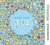 doodle hand drawn tea icons ... | Shutterstock .eps vector #492253111