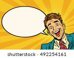 joyful businessman peeking from ...   Shutterstock .eps vector #492254161