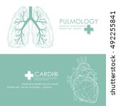 human heart and lungs icon.... | Shutterstock .eps vector #492255841