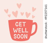 get well soon vector card with... | Shutterstock .eps vector #492257161