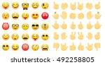 emoticons. emoji   hands icons... | Shutterstock .eps vector #492258805