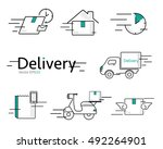 delivery vector icon set | Shutterstock .eps vector #492264901