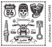 set of motorcycle and bikers... | Shutterstock .eps vector #492264985