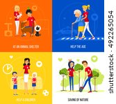 caring and helping neighbors as ...   Shutterstock .eps vector #492265054