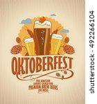 oktoberfest poster with beer...   Shutterstock . vector #492266104