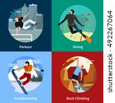 colorful extreme sports people... | Shutterstock .eps vector #492267064