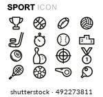 vector black line sport icons... | Shutterstock .eps vector #492273811