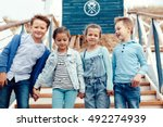 group of fashion children... | Shutterstock . vector #492274939