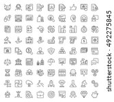 thin line icons set. flat... | Shutterstock .eps vector #492275845