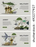 military infographic banners... | Shutterstock .eps vector #492277927