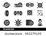 tire service icons and... | Shutterstock .eps vector #492279145