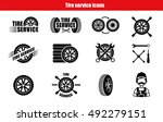 tire service icons and... | Shutterstock .eps vector #492279151