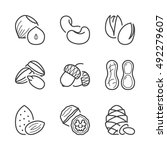 basic nuts thin line icons set. ... | Shutterstock .eps vector #492279607