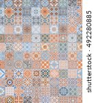 ceramic tiles patterns from... | Shutterstock . vector #492280885