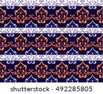 striped indian seamless pattern.... | Shutterstock .eps vector #492285805