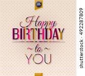 happy birthday greeting card ... | Shutterstock .eps vector #492287809