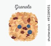granola isolated. flat lay ... | Shutterstock .eps vector #492289051