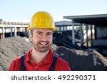 portrait of factory worker on... | Shutterstock . vector #492290371