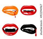 vampire halloween set of sexy... | Shutterstock .eps vector #492294967