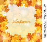 autumn leaves frame with... | Shutterstock .eps vector #492295339