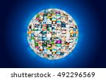 television broadcast multimedia ... | Shutterstock . vector #492296569