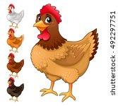 group of funny hens in... | Shutterstock .eps vector #492297751