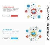set of flat line business... | Shutterstock .eps vector #492299434