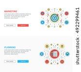 set of flat line business... | Shutterstock .eps vector #492299461
