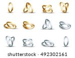 vector wedding rings. gold and... | Shutterstock .eps vector #492302161