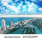 sunset aerial view of miami... | Shutterstock . vector #492302899