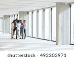 full length of business people... | Shutterstock . vector #492302971