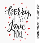 romantic love lettering.... | Shutterstock .eps vector #492304159