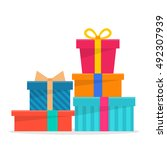 celebration gifts with ribbon.... | Shutterstock .eps vector #492307939