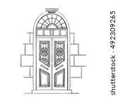 hand drawn vector illustrations ... | Shutterstock .eps vector #492309265